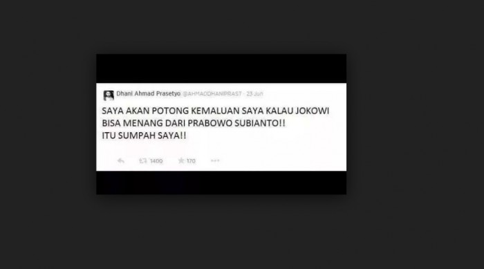 Screenshot tweet palsu Dhani