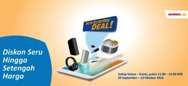 BCA KlikPay Deal! Diskon up to 50% di Bhinneka.Com