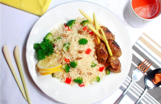 Rice Pilaf & Kebab with Honey Sauce