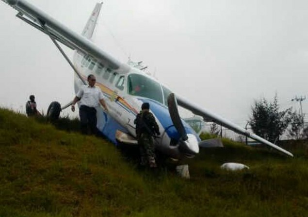 Asian One Plane Slides Off Runway in Papua