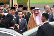 King Salman Arrives at Halim Perdanakusuma Airport