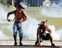 Police, Indigenous in Brazil Clash with Tear Gas and Spears