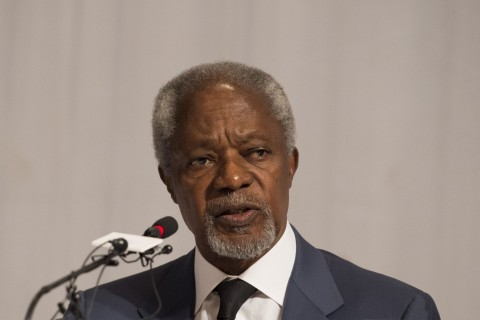 Former UN secretary general Kofi Annan talks during a press conference about the commission's final report in Yangon on August 24, 2017. (Photo:AFP/Ye Aung Thu)