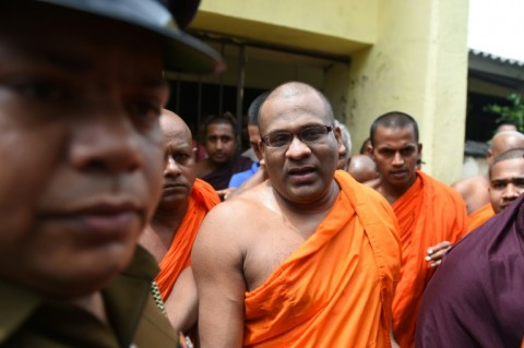 Sri Lankan Buddhist monk Galagodaatte Gnanasara is on bail facing hate speech charges and insulting the Koran, one of a number of prominent Buddhist clergy in Asia who espouse anti-Muslim rhetoric . (Photo:AFP/Ishara S. Kodikara)