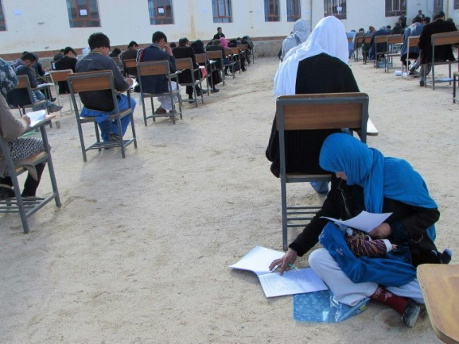Afghan Mum Cradling Baby during University Exam Goes Viral