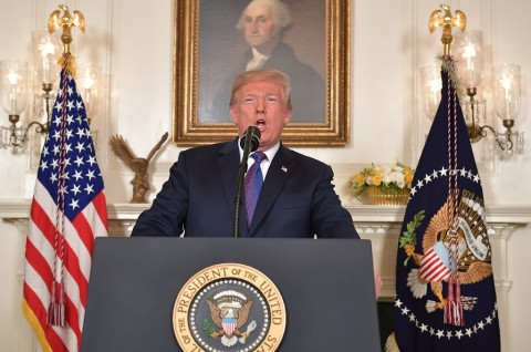 US President Donald Trump addresses the nation on the situation in Syria April 13, 2018 at the White House in Washington, DC. Trump said strikes on Syria are under way. (Photo: AFP/MANDEL NGAN)