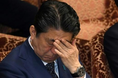 Japan PM Abe back on the ropes as second scandal grows. (Photo:AFP/Kazuhiro Nogi)