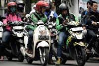 Online Motorcycle Taxi Drives Holds Rally at Parliament Complex