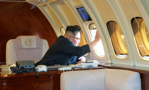 Glimpses of the jet's interior are rare. (Photo:AFP/KCNA via KNS)