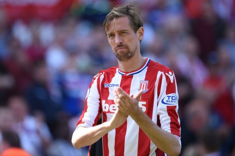 Striker Stoke City, Peter Crouch. (FotoL AFP PHOTO / Oli SCARFF)