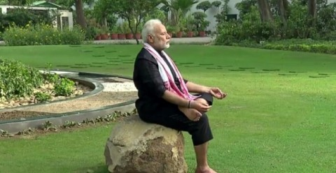Indian Prime Minister Narendra Modi, 67, released a two minute exercise video clip shot in the lush garden of his New Delhi residence. (Photo:AFP/File)