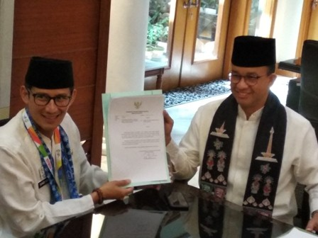 Jakarta Vice Governor Sandiaga Uno has submitted his resignation letter earlier today (Photo:Medcom/M Al Hasan)