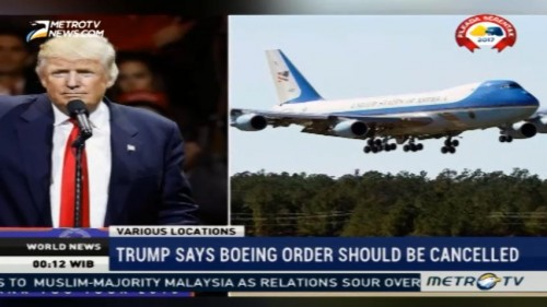 Trump Says Boeing Order Should Be Cancelled