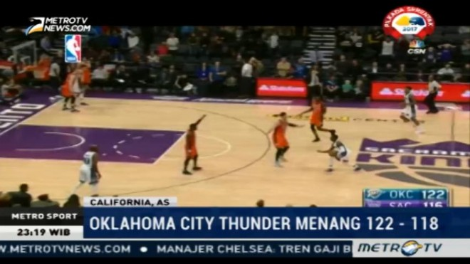 Oklahoma City Thunder Unggul atas Sacramento Kings 122-118