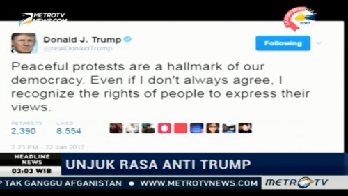 Cuitan Trump Terkait Aksi 'Women's March'