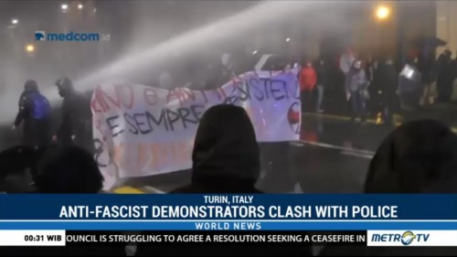 Anti-Fascist Demonstrators Clash with Police in Italy