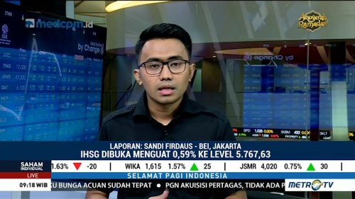 IHSG Dibuka Menguat ke Level 5.767