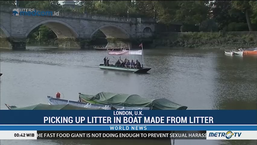 Picking Up Litter in Boat Made from Litter